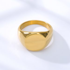 Simple Square Gold Width Signet Polished Round Punk Ring Stainless Steel Biker Nightclub Jewelry Gift New Brand Finger Rings