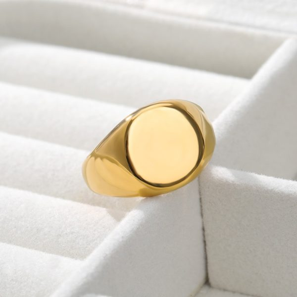 Simple-Square-Gold-Width-Signet-Polished-Round-Punk-Ring-Stainless-Steel-Biker-Nightclub-Jewelry-Gift-New-5