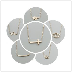Stainless-Steel-Statement-Leaf-Heartbeat-Cross-Necklaces-Heart-to-Heart-Crane-Bar-Crucifix-Jesus-Rose-Gold