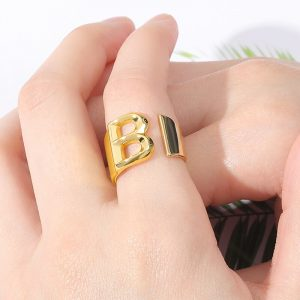 Thumb Hollow Gold Color Metal Adjustable Opening Ring Initials Name Alphabet Female Party Chunky Jewelry