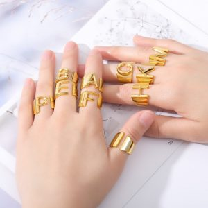 Thumb-Hollow-A-Z-Letter-Gold-Color-Metal-Adjustable-Opening-Ring-Initials-Name-Alphabet-Female-Party