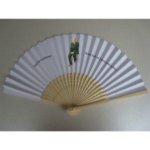 Print paper fans in low quantity 50pcs paper fan on fan face +50pcs pen with case