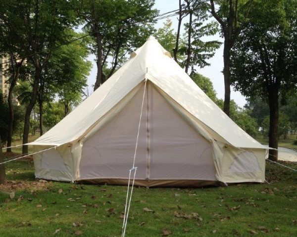 free-shipping-glamping-holiday-4m-Dia-oxford-canvas-waterproof-camping-tent-bell-tent-2